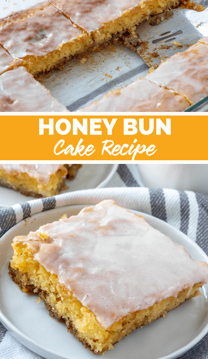Honey Bun Cake Recipe - collage image showing cake cut out of cake pan and a slice of cake on a white plate via @familyfresh