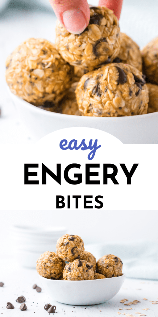 Now Bake Easy Energy Bites - Collage Picture showing 2 pictures of energy bites in a white bowl
