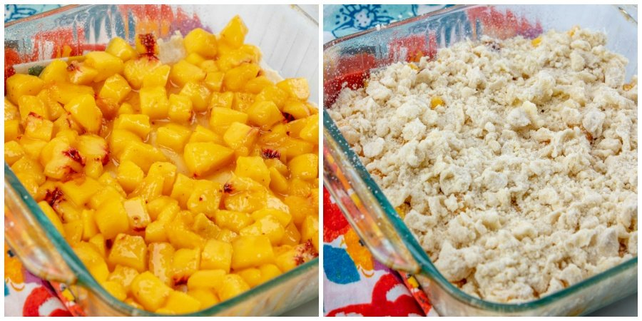picture collage with 2 images - left picture - peach mixture placed on top of pressed down crust - right picture - the rest of the crumble mixture placed on top of peaches