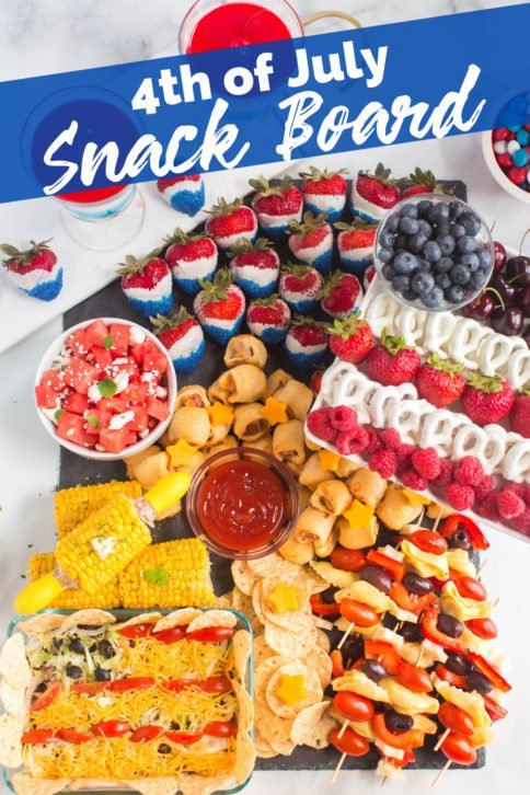 Top down image of 4th of July Snack Board from Family Fresh Meals