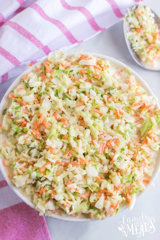 Top down photo of Copycat KFC Coleslaw in a white bowl