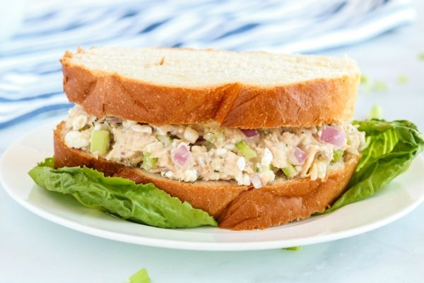 Cottage Cheese Tuna Salad served as a sandwich on a white plate