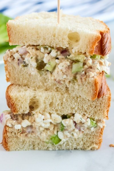 Cottage Cheese tuna salad served as a sandwich.