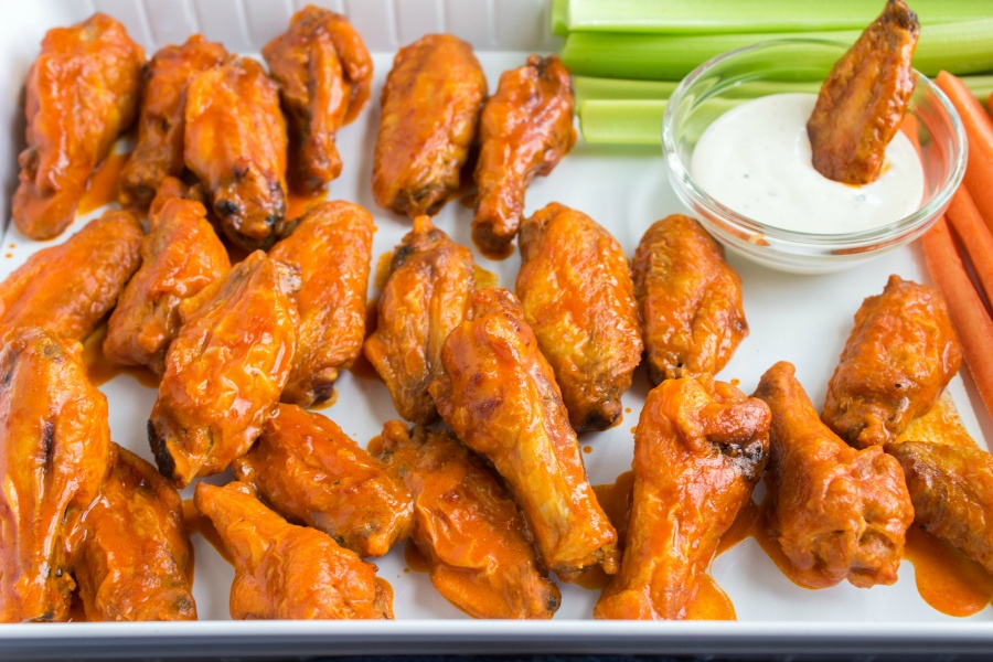 Buffalo Wings - served on a platter with celery and carrots