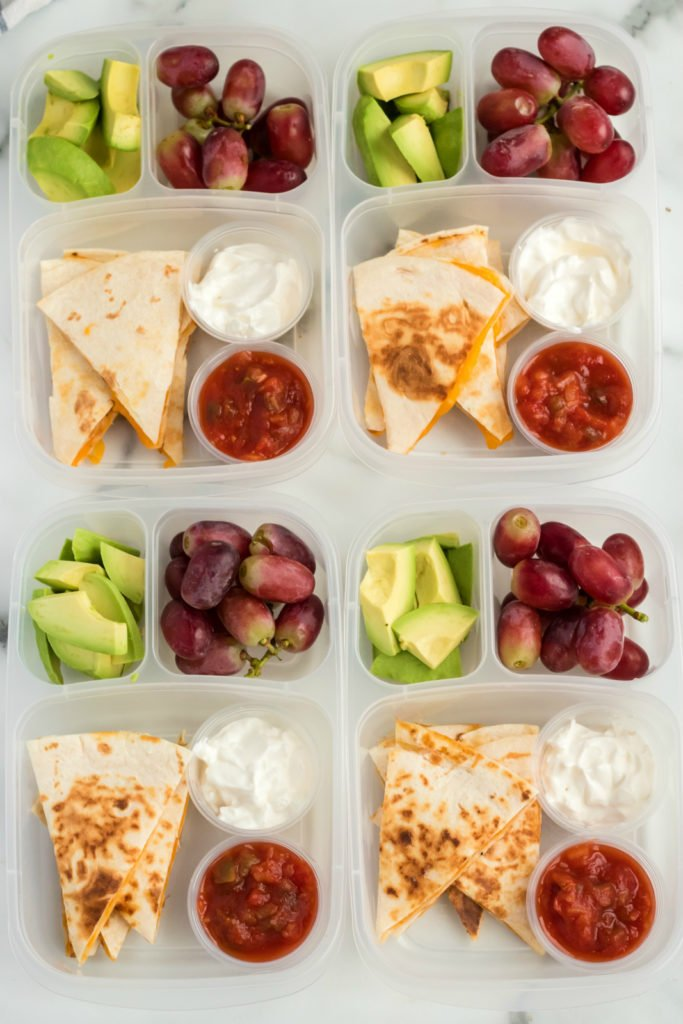 Top down image of 4 Cheese Quesadilla Lunchboxes placed together