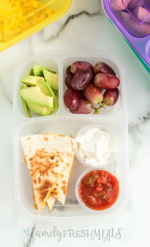 Top down image of Cheese Quesadilla Lunchbox