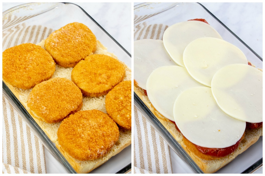 First image of glass baking dish with bottom later of buns topped with patties. Second picture is of, chicken patties, covered in marinara sauce and sliced provolone cheese