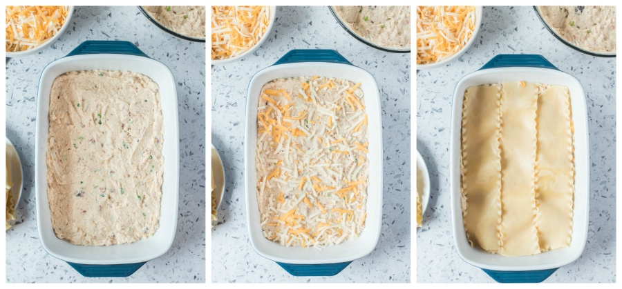 Left image chicken mixture in baking dish, middle shows shredded cheese added to top of creamy mixture, right image shows lasagna noodles on top of shredded cheese