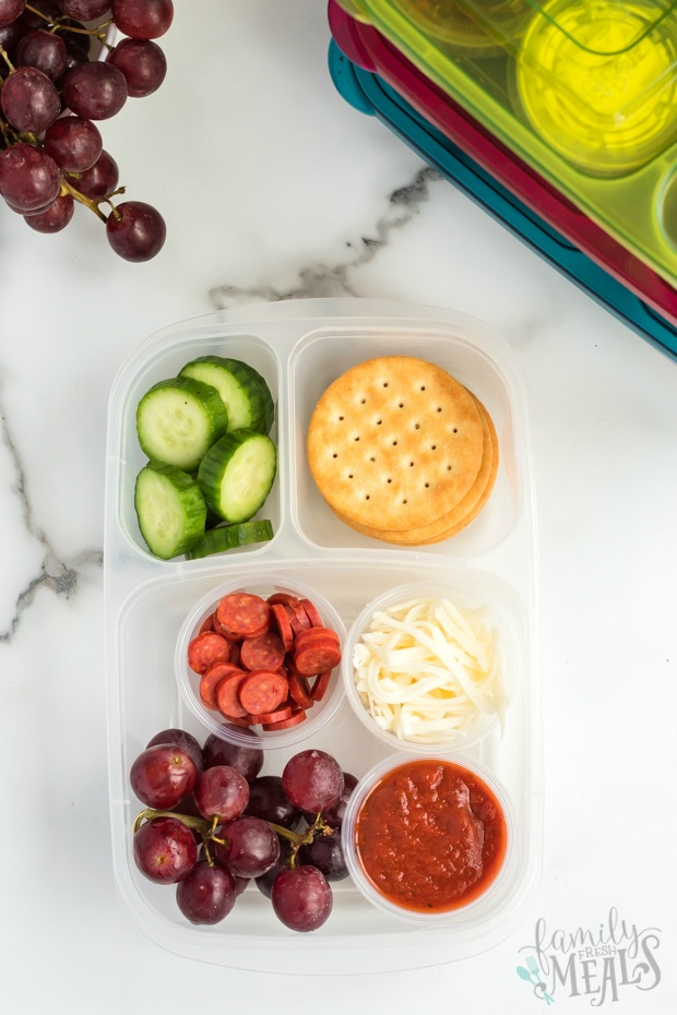 - top down image of DIY Pizza Lunchable lunchboxes
