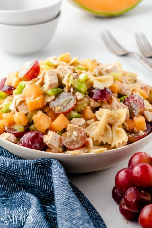 Fresh Fruity Chicken Pasta Salad served in a white bowl