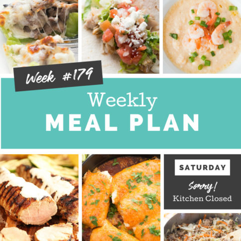 Collage image showing images of recipes from weekly meal plan