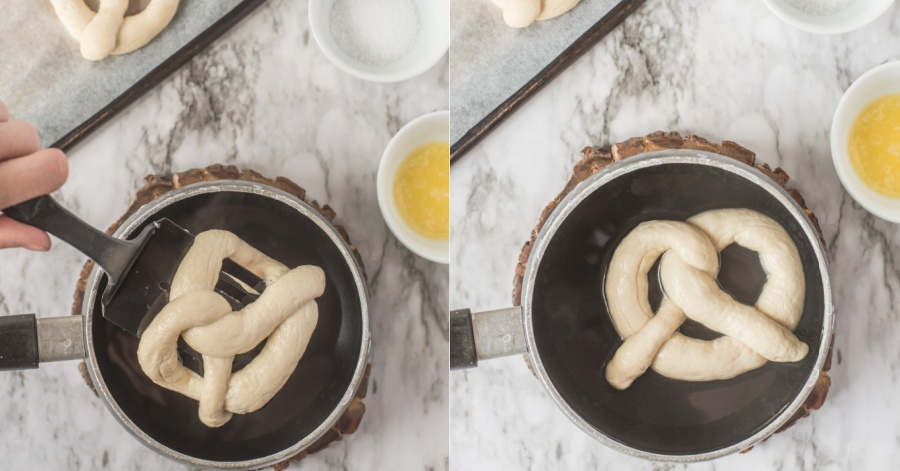 2 images showing pretzel dough being placed in soda bath