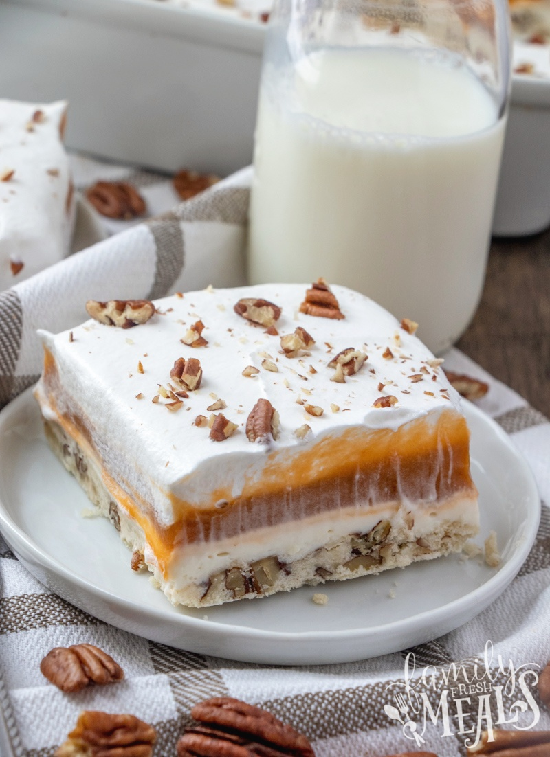 This Butterscotch Lush Cake recipe is a sweet combo of pecans and butterscotch, this may be my most decadent lush cake ever. via @familyfresh