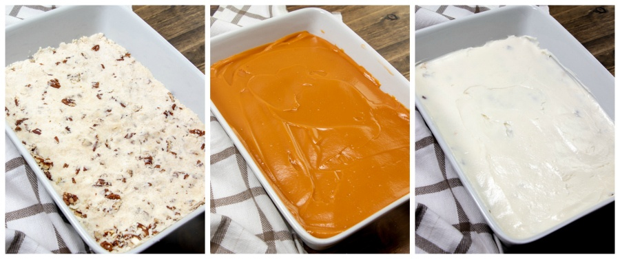 3 images showing the different cake layers being put in pan