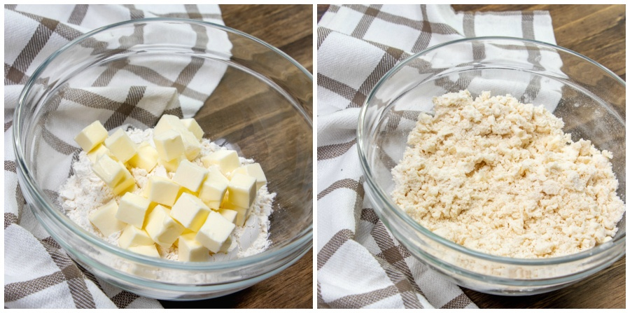 Cubed butter mixed into dry ingredients