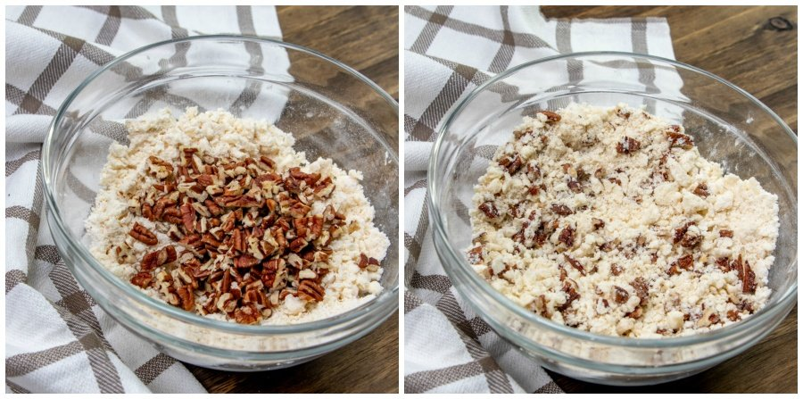 mixing nuts into crust mixture
