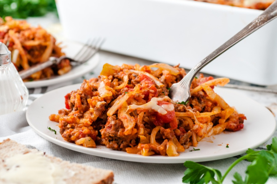 Cabbage Roll Casserole Recipe Served on a white plate with a fork