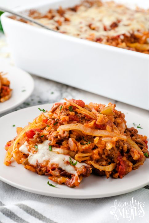 Cabbage Roll Casserole served on a white plate