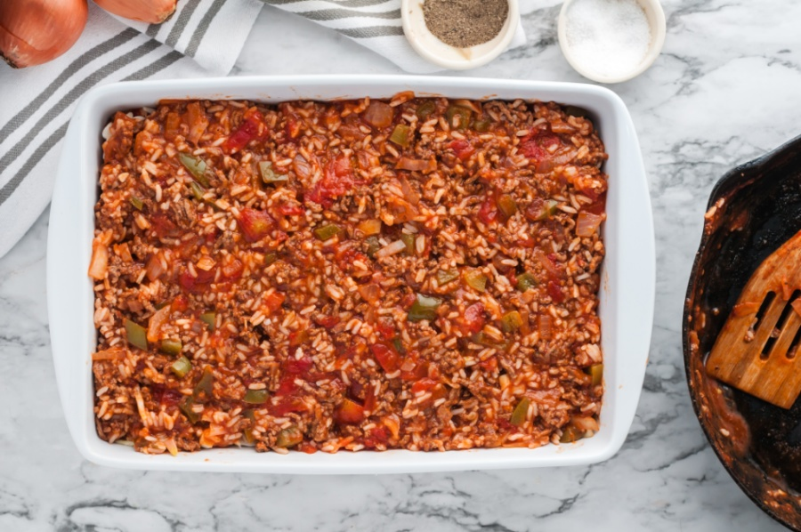 Cabbage roll casserole in white baking dish