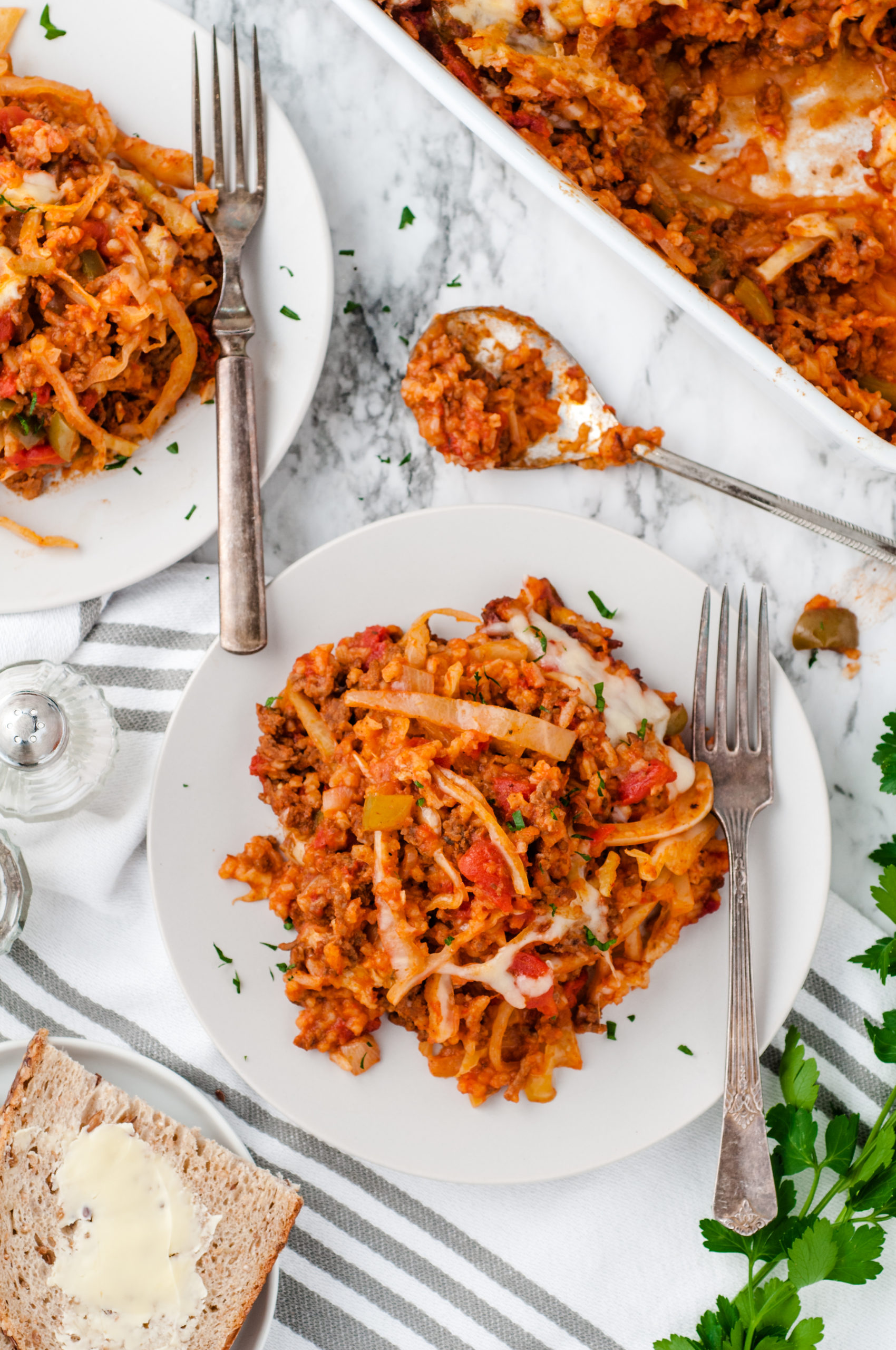 Cabbage Roll Casserole Recipe from Family Fresh Meals  #cabbage #cabbageroll #beef #groundbeef #casserole #lowcarb via @familyfresh