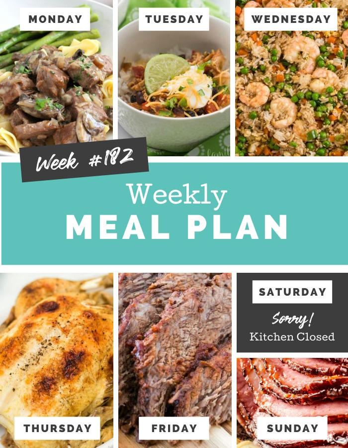Easy Weekly Meal Plan Week 182 #mealplan #easyrecipes #mealprep #familyfreshmeals via @familyfresh