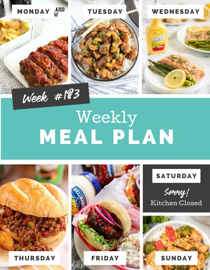 Easy Weekly Meal Plan Week 183 #mealplan #easyrecipes #mealprep #familyfreshmeals via @familyfresh