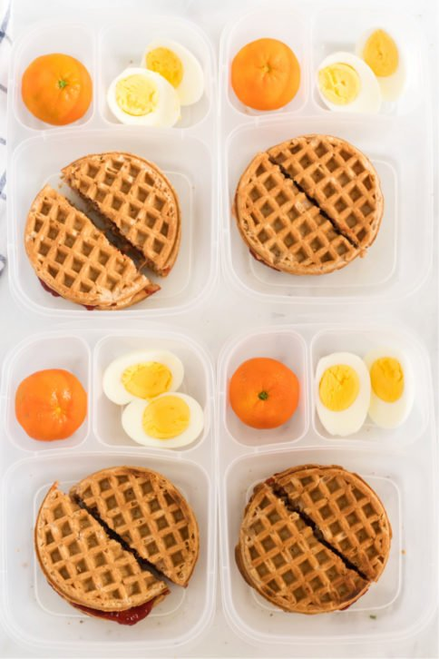 Top down image of 4 PBJ Waffle Sandwich Lunchboxes