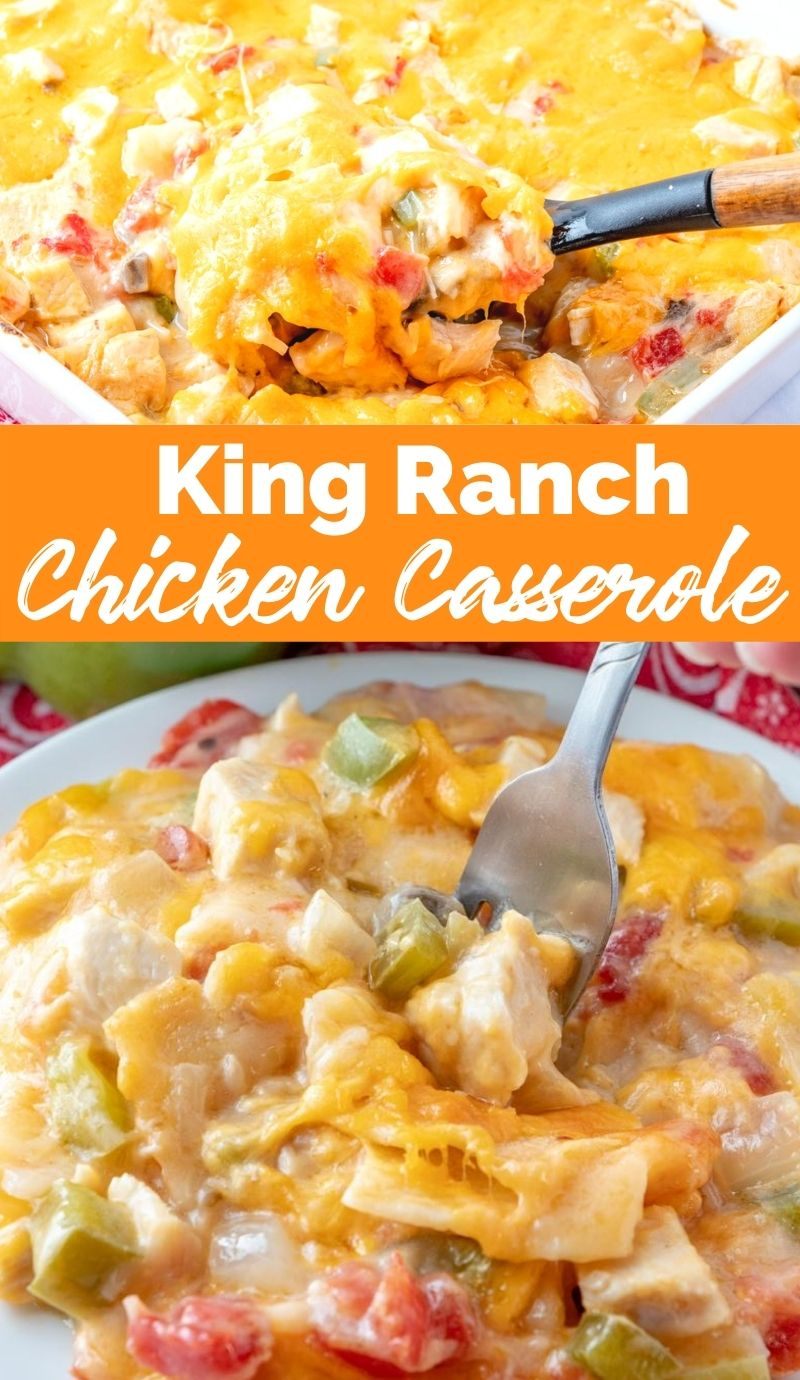 This King Ranch Chicken Casserole is a combo of chopped chicken, cheese, tortillas, and spicy tomatoes in a creamy sauce, and is a sure-fire hit. via @familyfresh