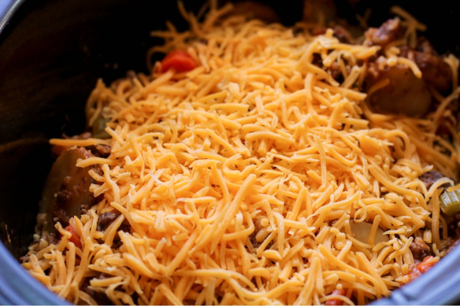 shredded cheese place on top of casserole