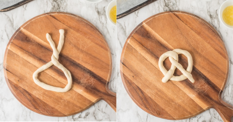 two images showing how to shape dough into pretzel shape