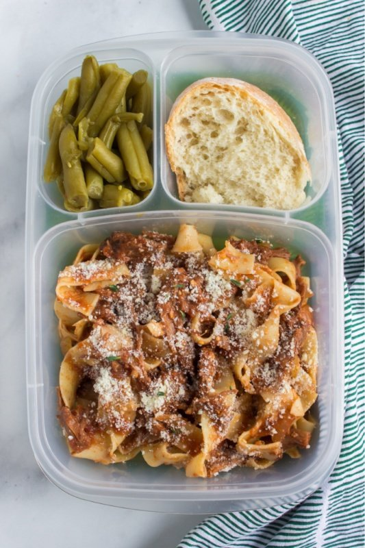 Crockpot Beef Ragu packed for lunch