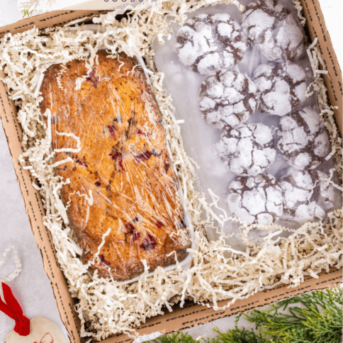 top down image of bread and cookies packed in a box