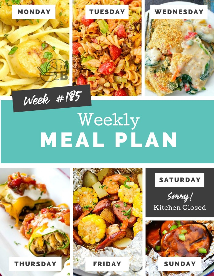 Easy Weekly Meal Plan Week 185 #mealplan #familymeals #dinner via @familyfresh