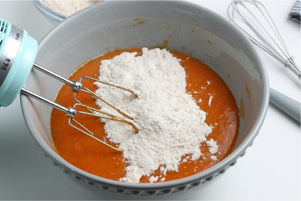 mixing dry ingredients into batter