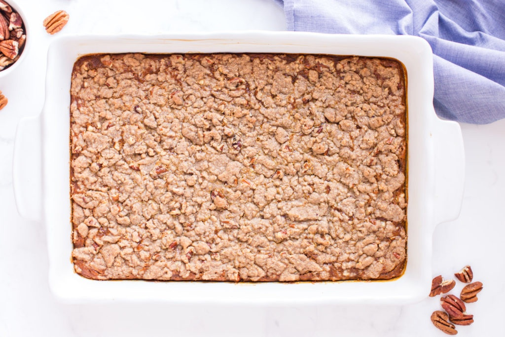 top down image of baked pumpkin dump cake