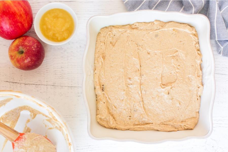 cake batter in baking dish