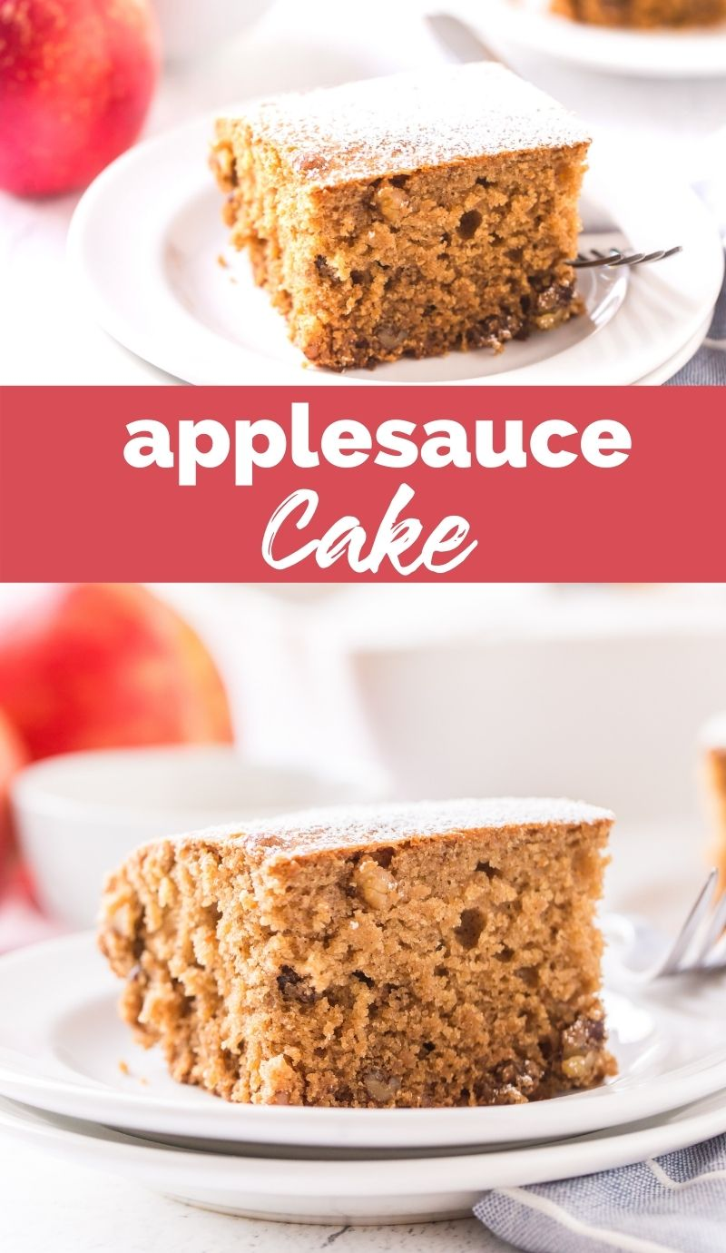 Celebrate the flavors of the season with this simple and moist Applesauce Cake! Flavored with the warm holiday spices of cinnamon and nutmeg. via @familyfresh