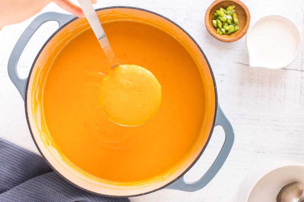 Butternut squash soup in a large soup pot