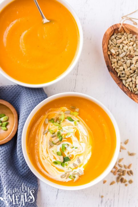 Two bowls of Butternut Squash Soup
