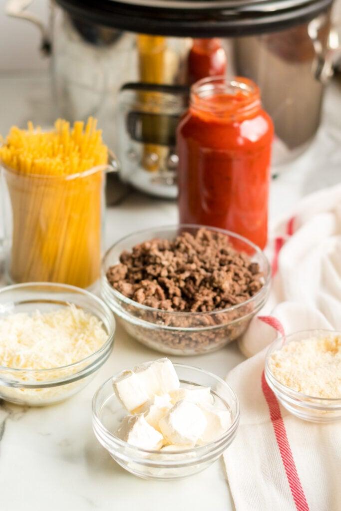 Ingredients for creamy crockpot spaghetti