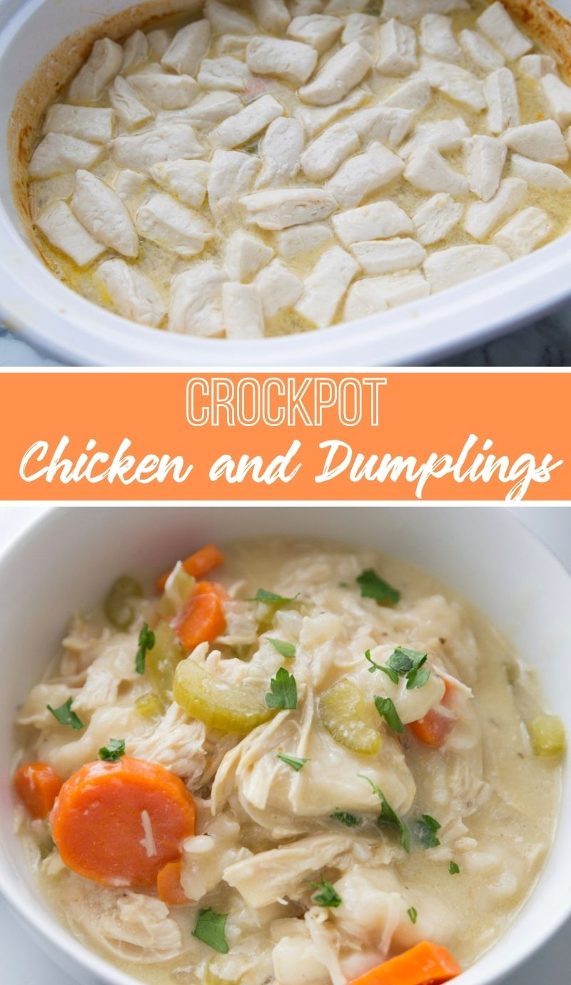 This Crockpot Chicken and Dumplings recipes is a cozy blend of tender chicken, veggies, dumplings, and broth that tastes just like mom's. via @familyfresh