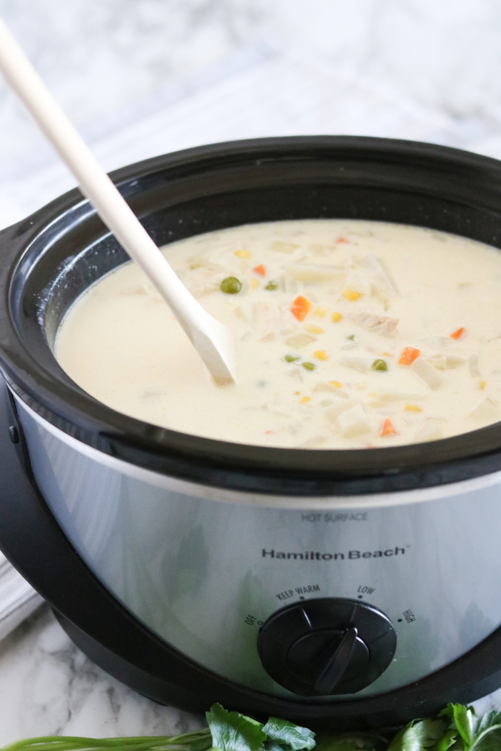 Forget choosing between flavor and convenience – with this Crockpot Chicken Pot Pie Soup, you can have both.  via @familyfresh