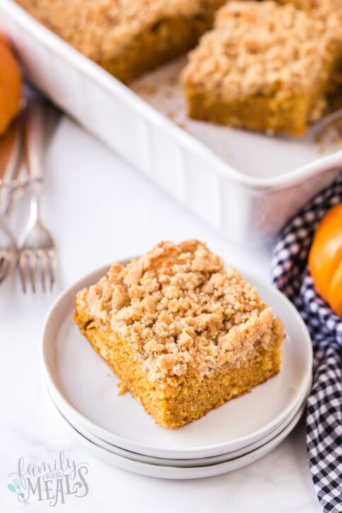 a piece of pumpkin coffee cake on a plate