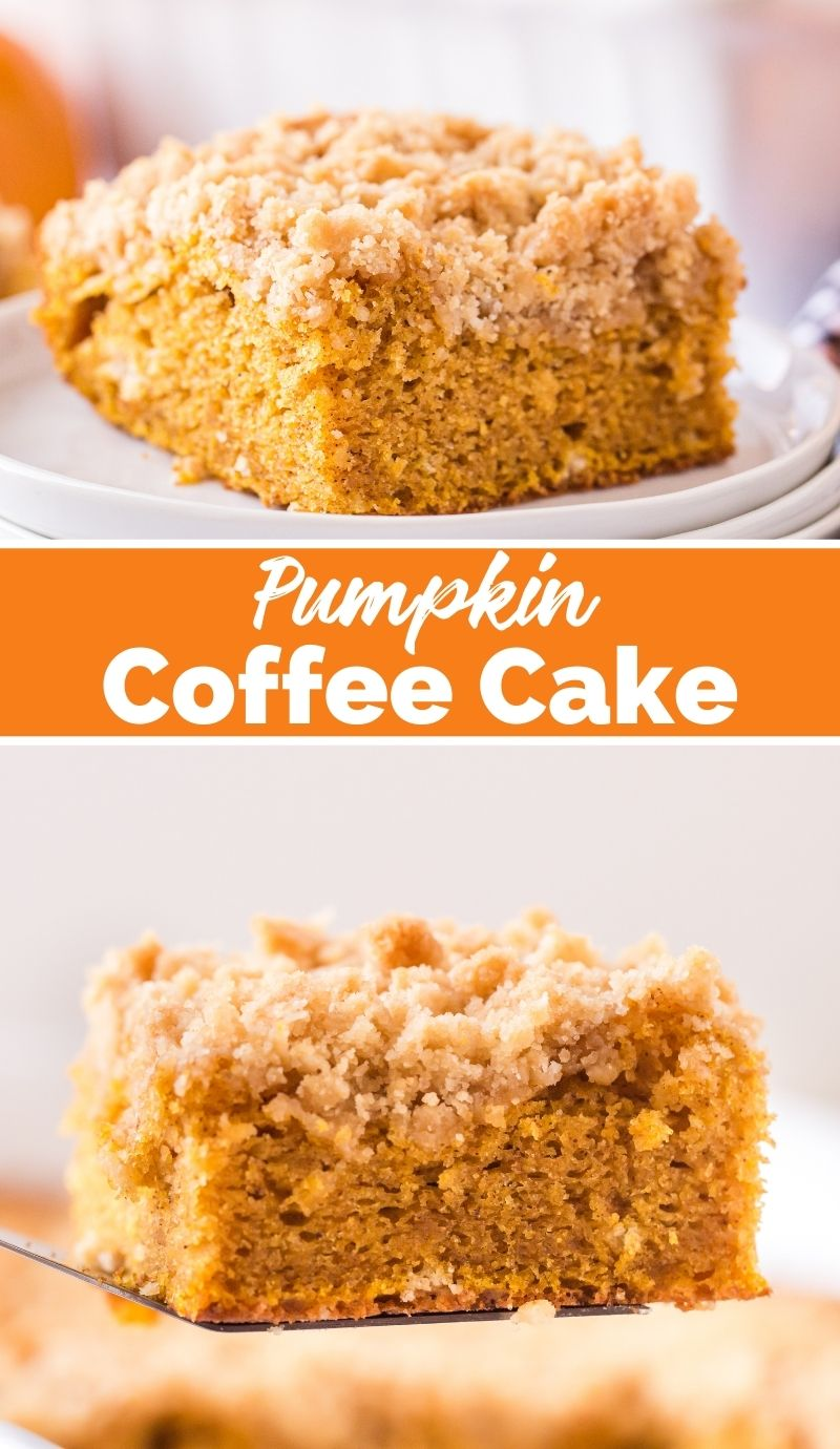 This Pumpkin Coffee Cake recipe could hardly be easier to make. It's a super moist cake with a crunchy streusel topping. via @familyfresh