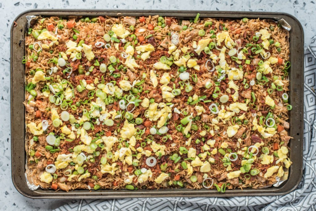 pork fried rice on a baking sheet