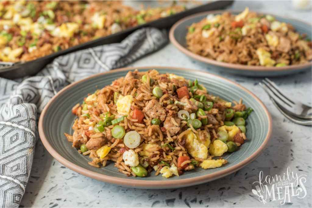 pork fried rice served on a plate