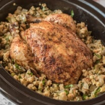 Crockpot Whole Chicken with Stuffing