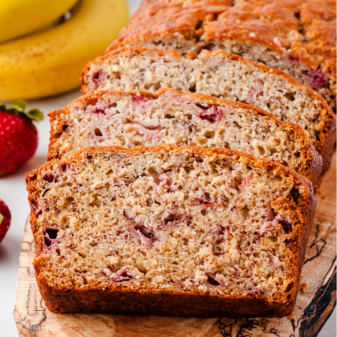 Strawberry banana bread cut into slices