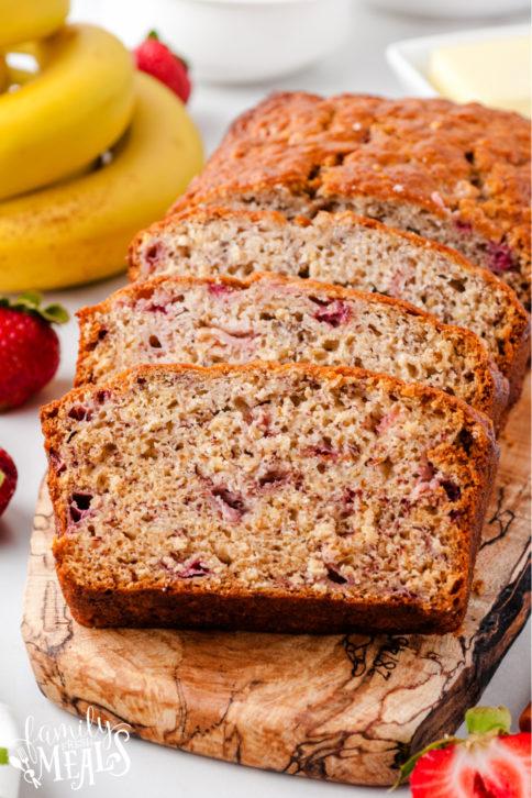 Strawberry banana bread cut into slices