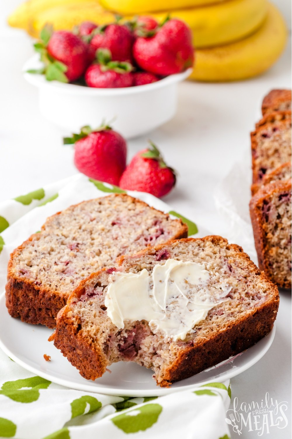 Soft, tender, and bursting with fresh strawberry flavor, this Strawberry Banana Bread is double the fruit, double the fun. #bananabread #bread #strawberry via @familyfresh